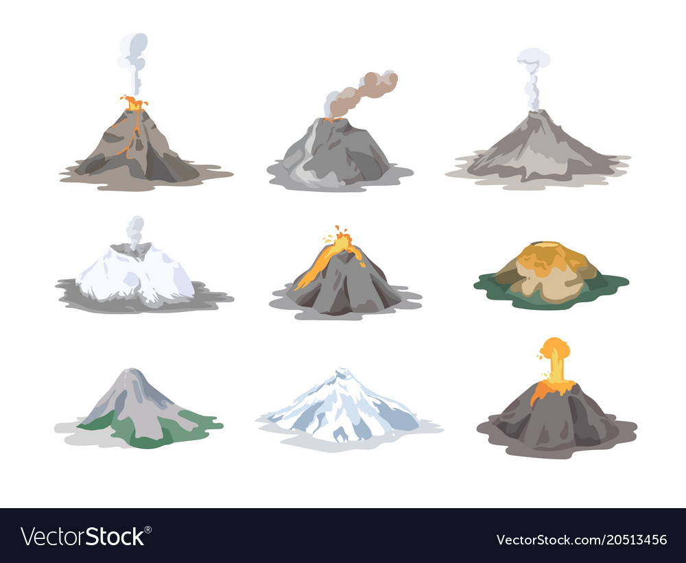 Collection of inactive and active volcanoes
