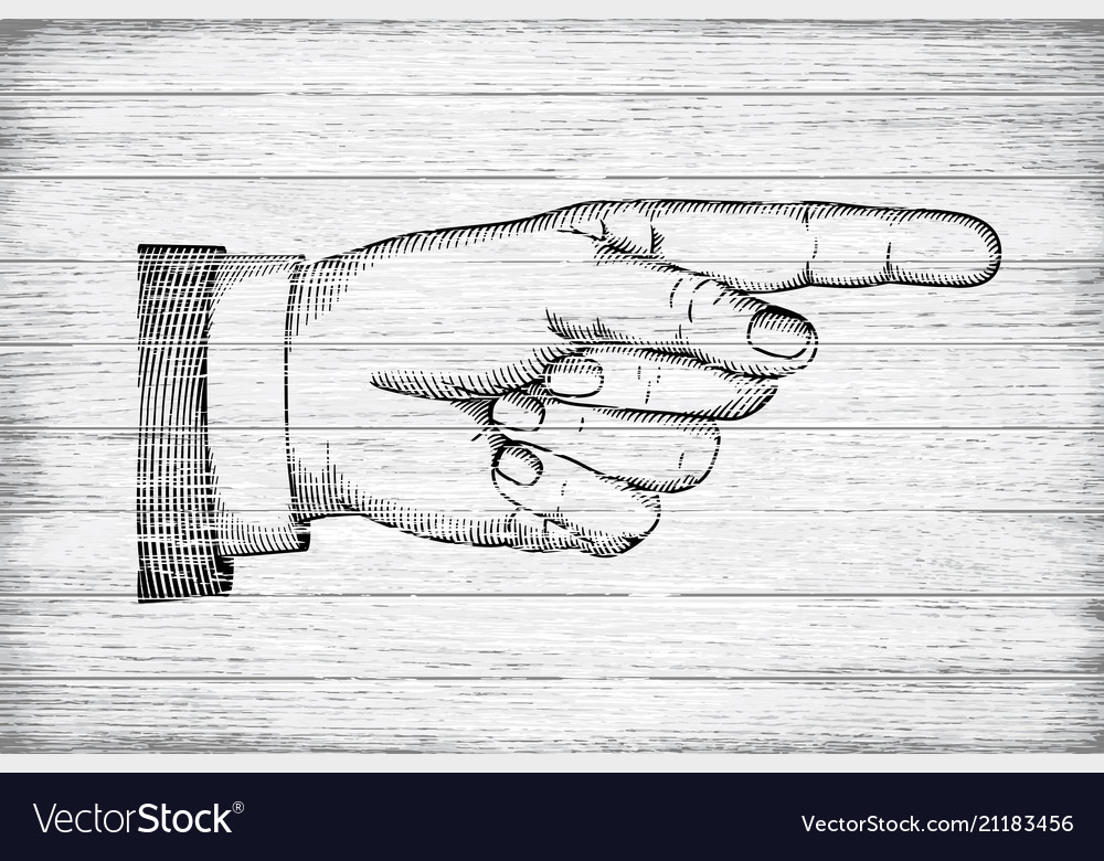 Hand with pointing finger retro styled