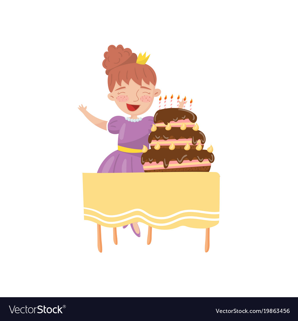 Happy Young Woman With Birthday Cake Cartoon Vector Image