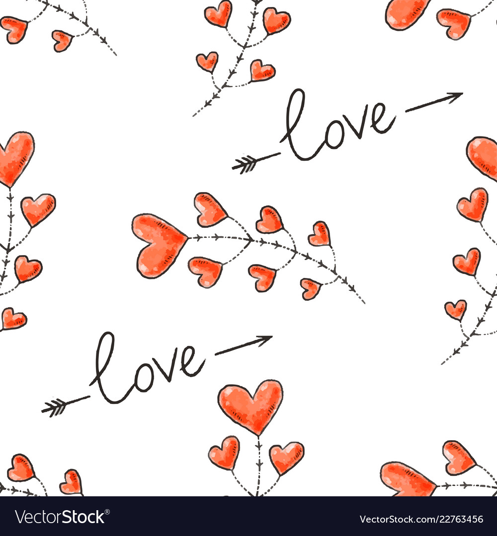 Hearts arrows and love inscription seamless