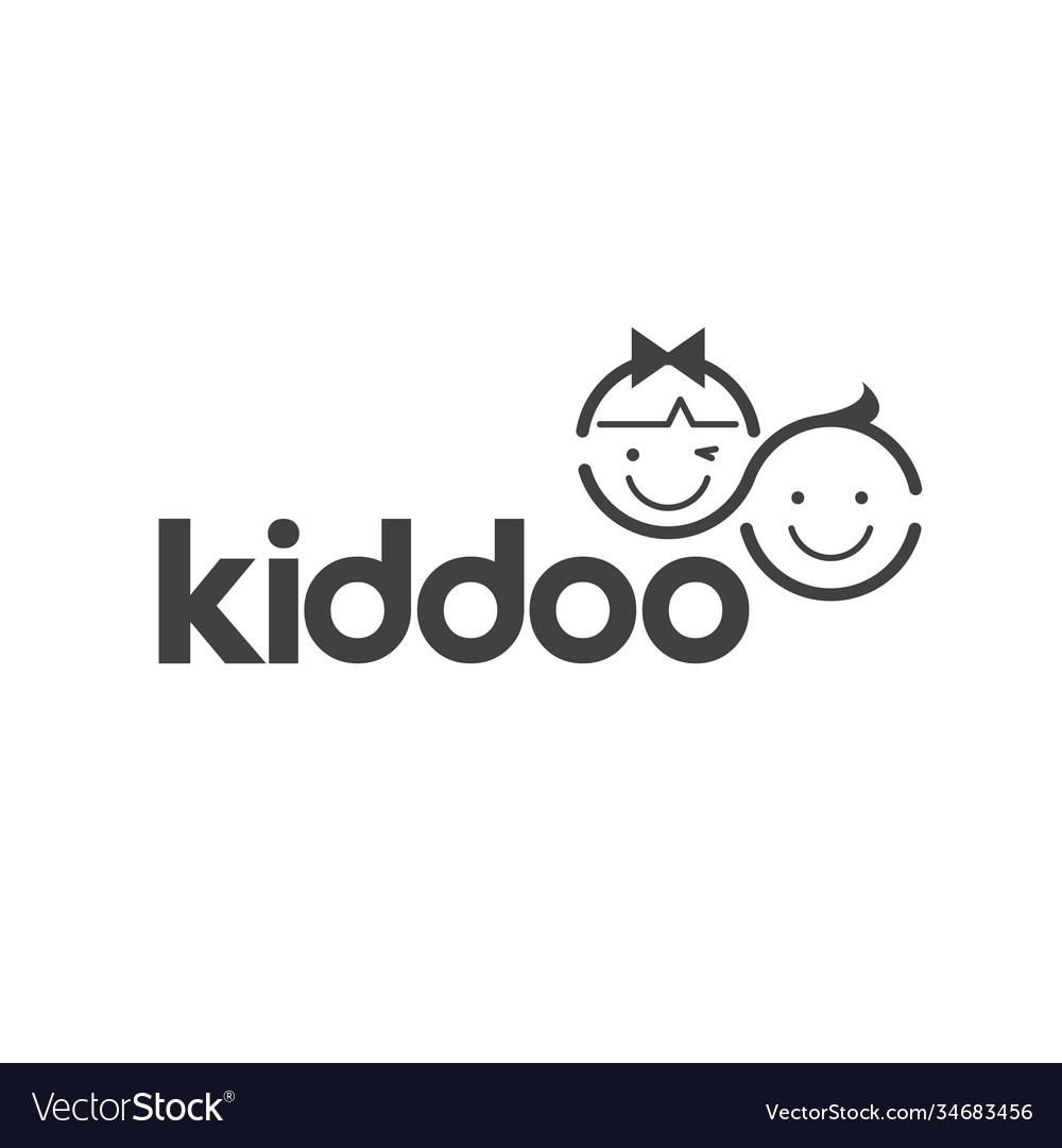 Kids logo - children happy girl boy kids play joy