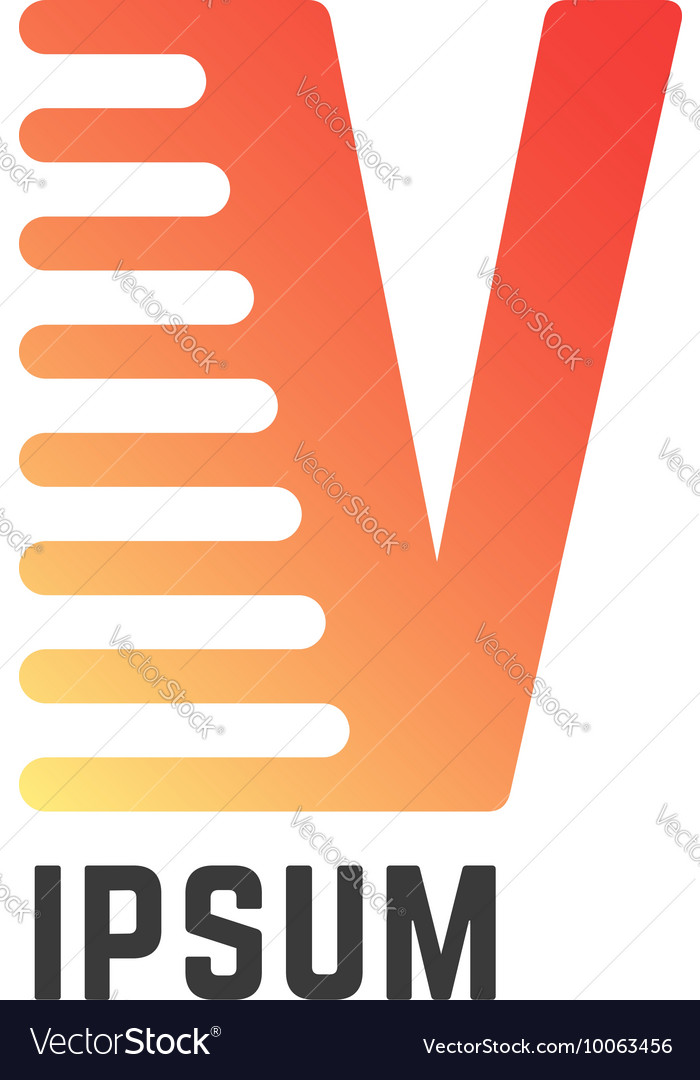 Melted v letter like company visual identity vector image