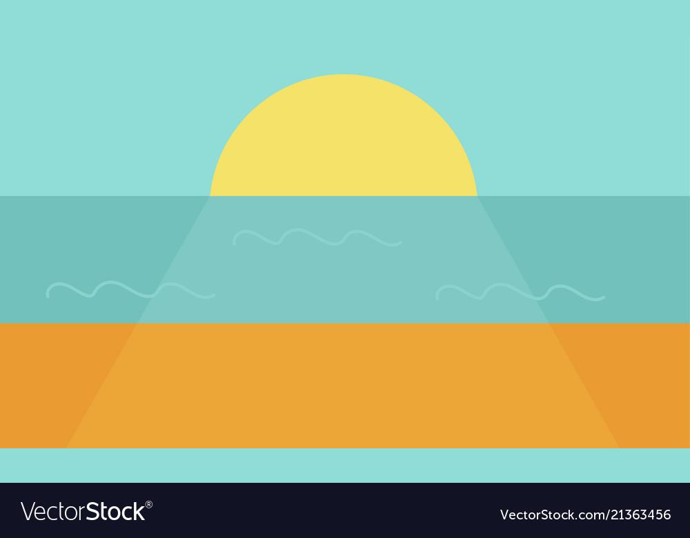 Sunset on the sea or ocean the large crimson sun