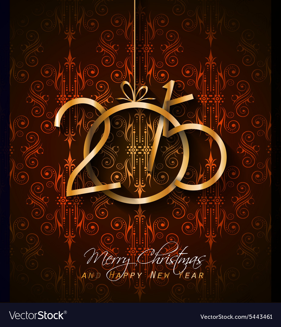 2015 Christmas Greeting Card For New Year Flyers Vector Image