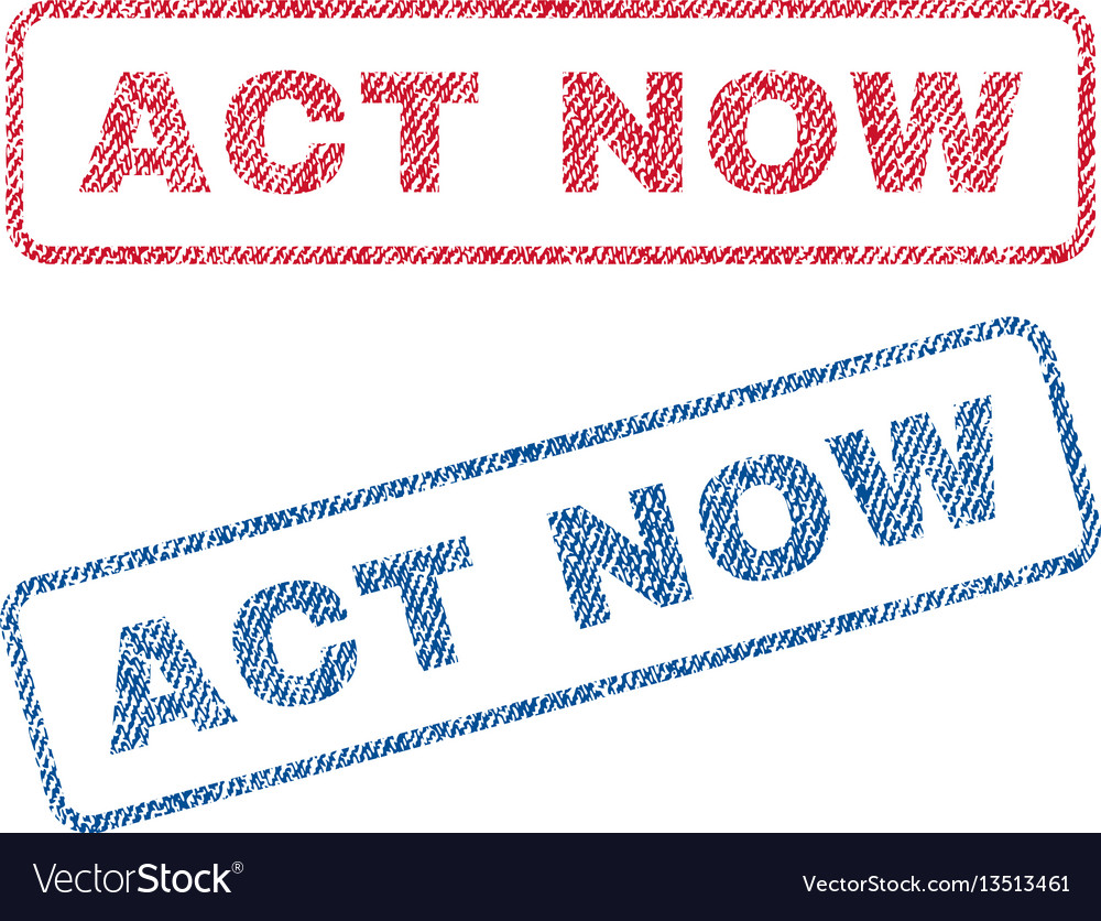 Act now textile stamps vector image