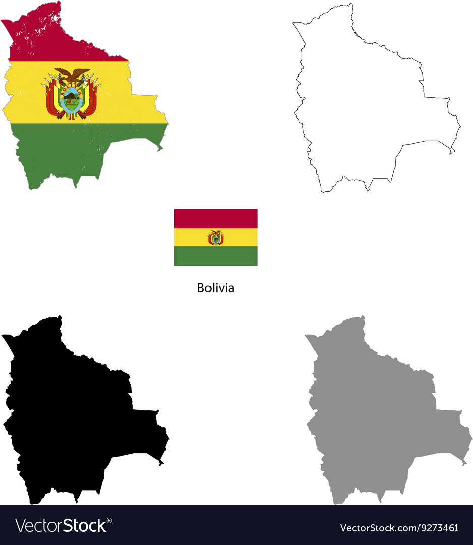 Bolivia country black silhouette and with flag on