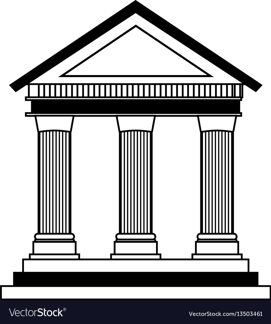 Building roman columns icon vector image