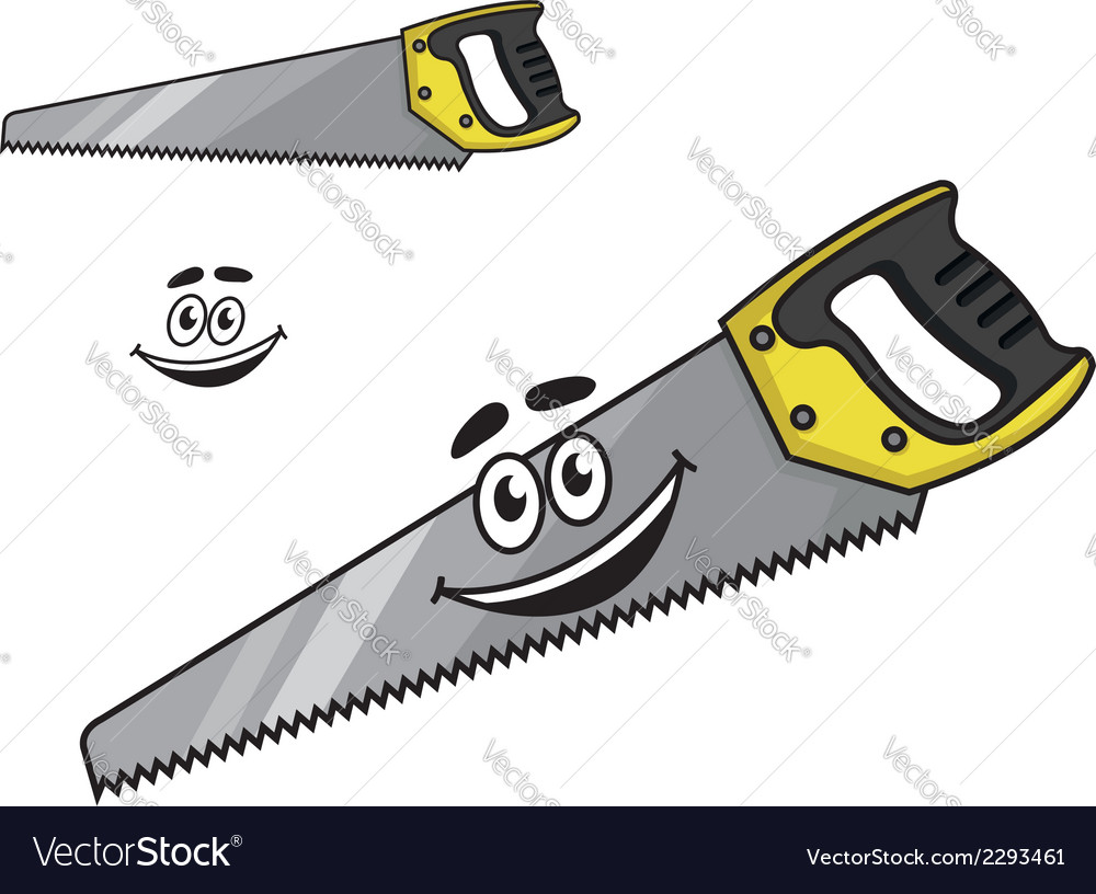 Cartoon handsaw with a happy smile