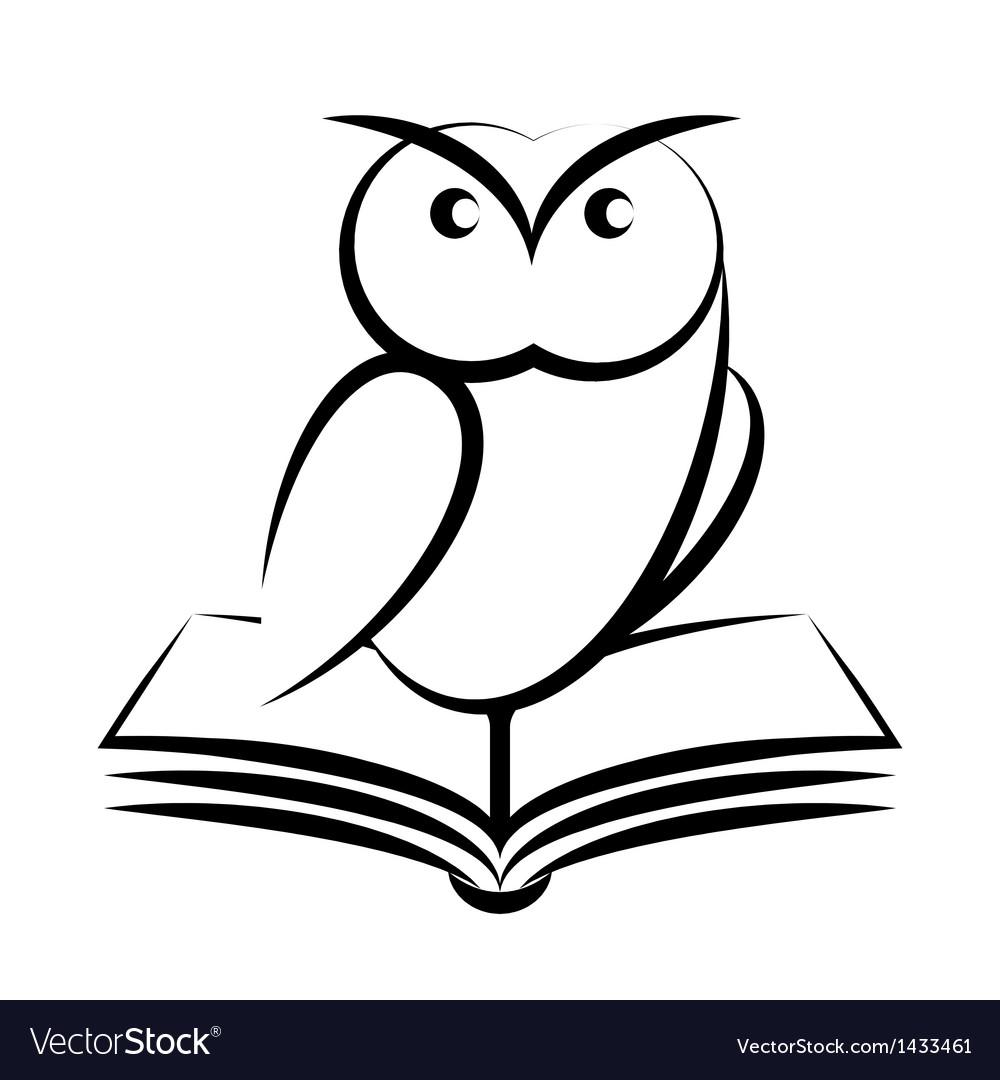 Cartoon of owl and book - symbol of wisdom vector image