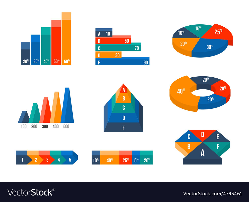 Charts diagrams and graphs in modern isometric 3d vector image ccuart Images