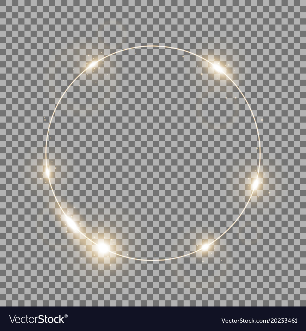 Circle of light golden color vector image