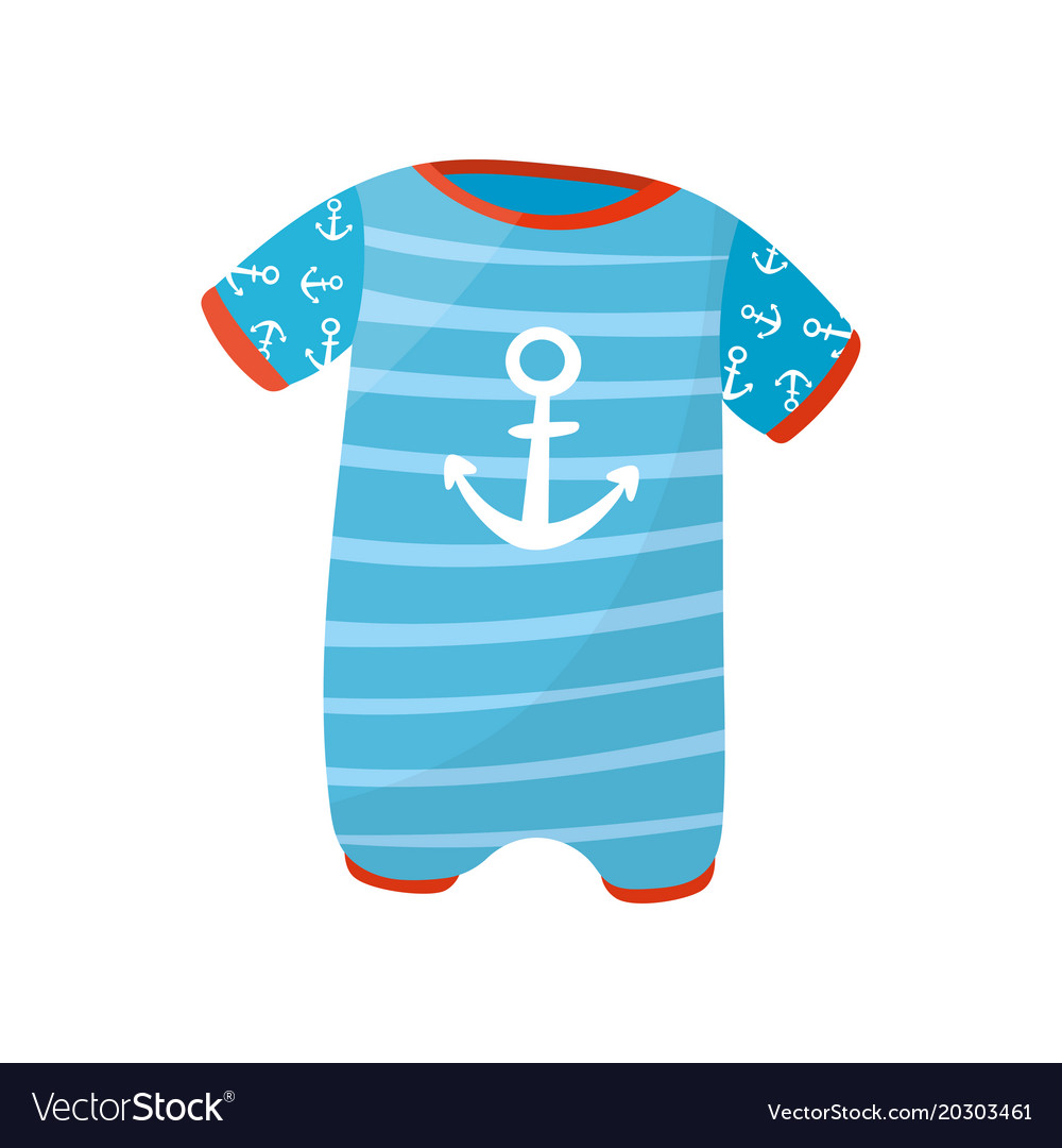 6bc54cc1f3dc Cute baby boy romper with short sleeves and anchor