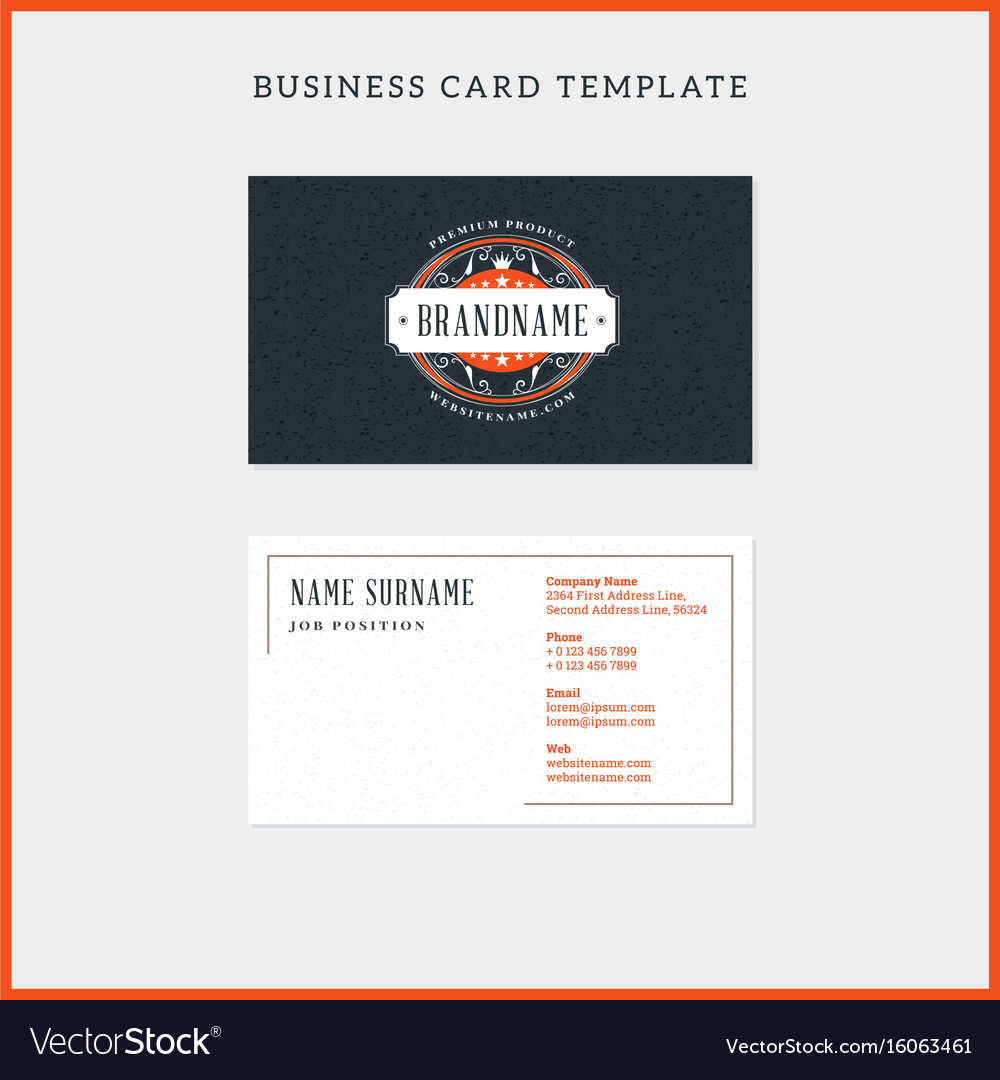 Double sided vintage business card template with vector image flashek Choice Image