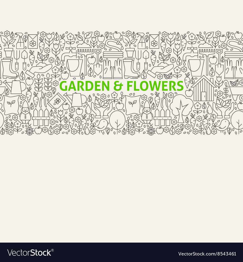 Garden Line Art Seamless Web Banner