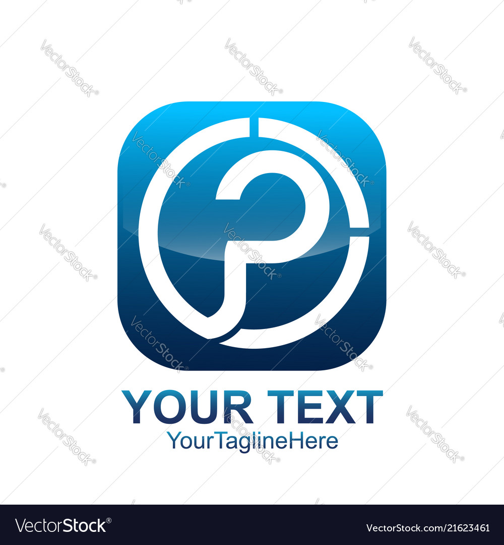 Initial letter p logo template colored blue