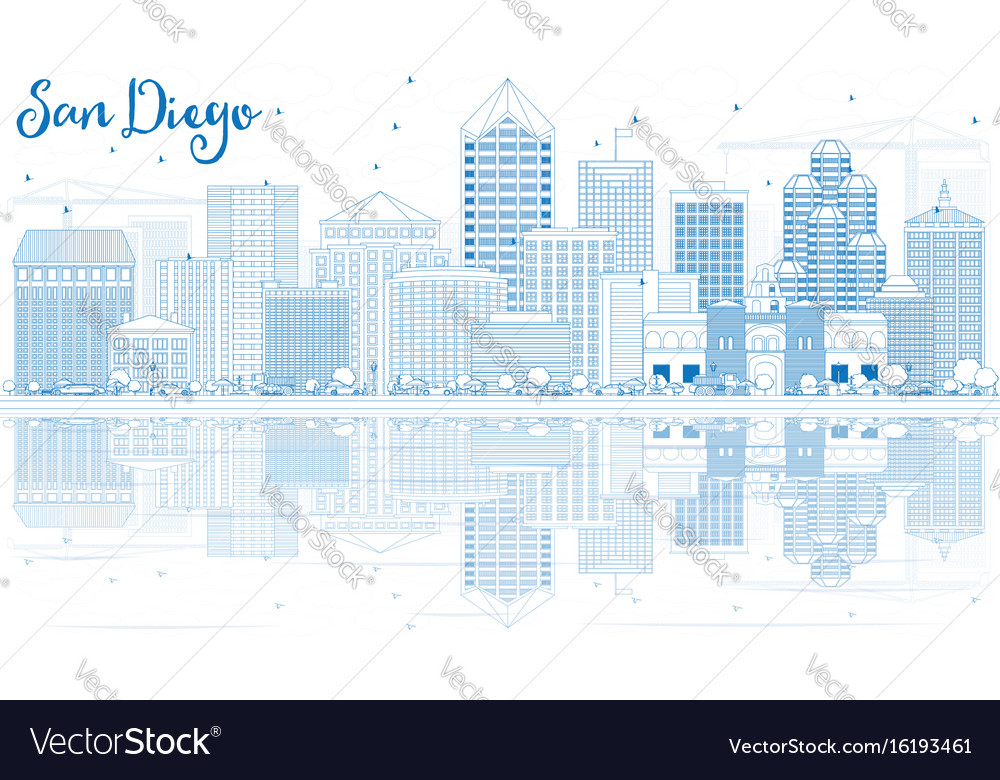 Outline san diego skyline with blue buildings and