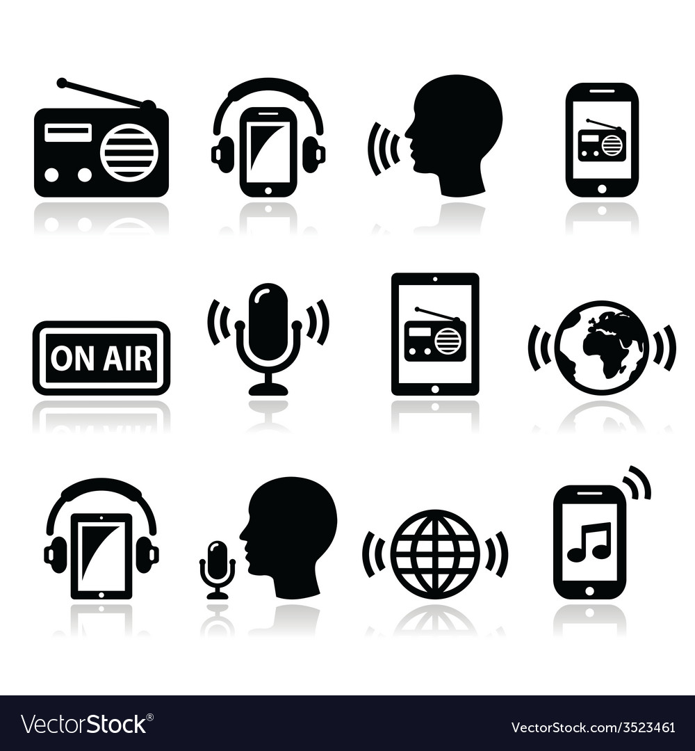 Radio podcast app on smartphone and tablet icons