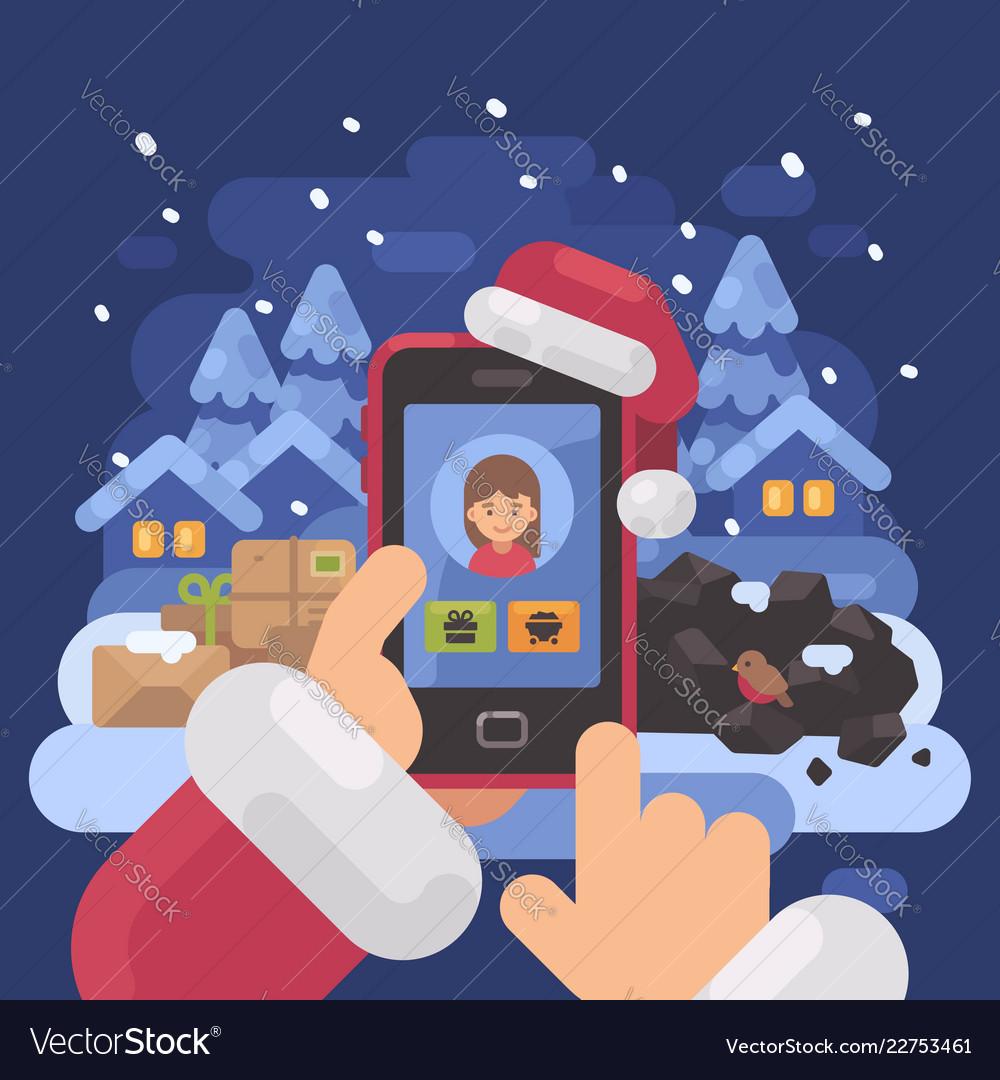 Santa claus checking children profiles online