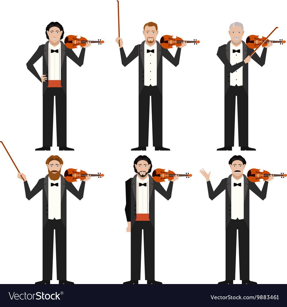 Set of violinistes flat icons