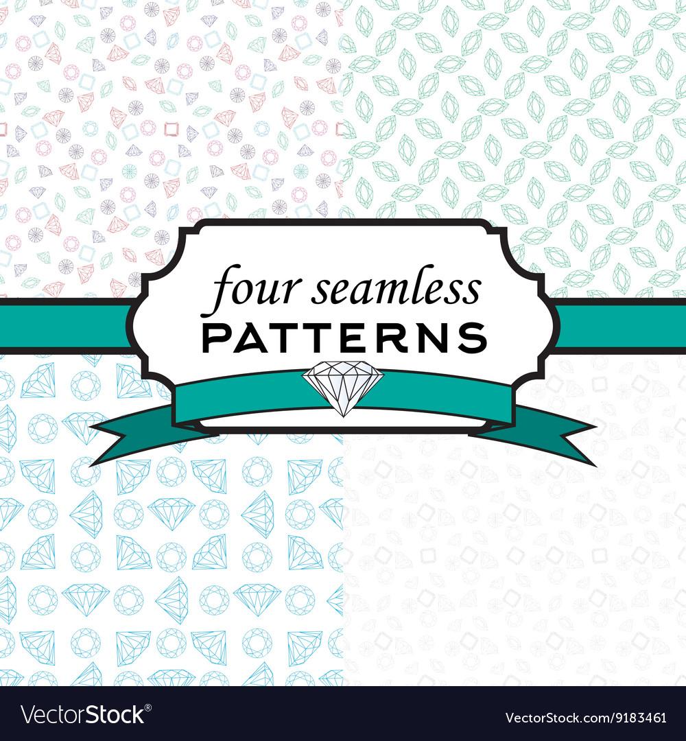 Set seamless pattern with different diamonds