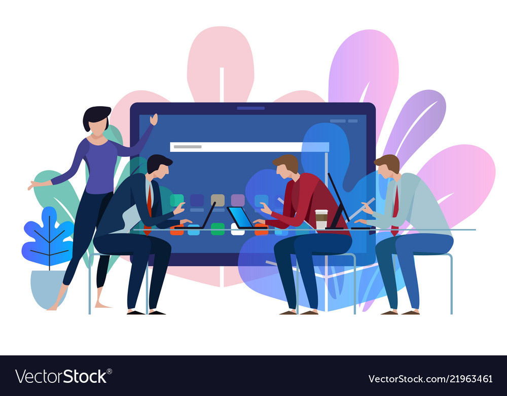 Tablet device screen business team working