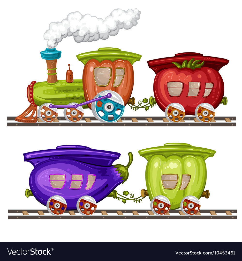 Vegetables trains wagons and rails vector image