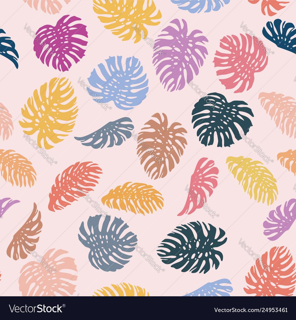 Vivid color monstera seamless pattern pink