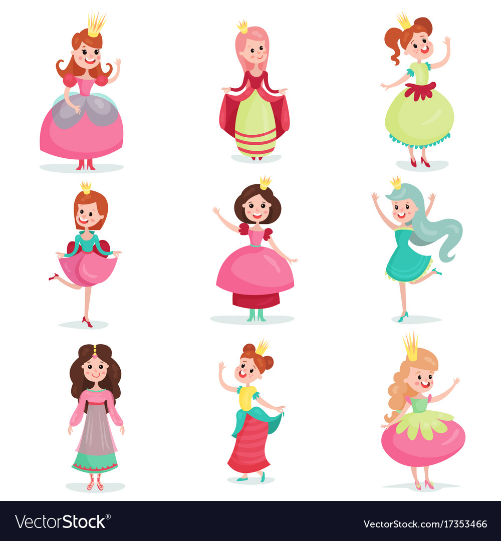 Beautiful cartoon princess girls in a ball dress