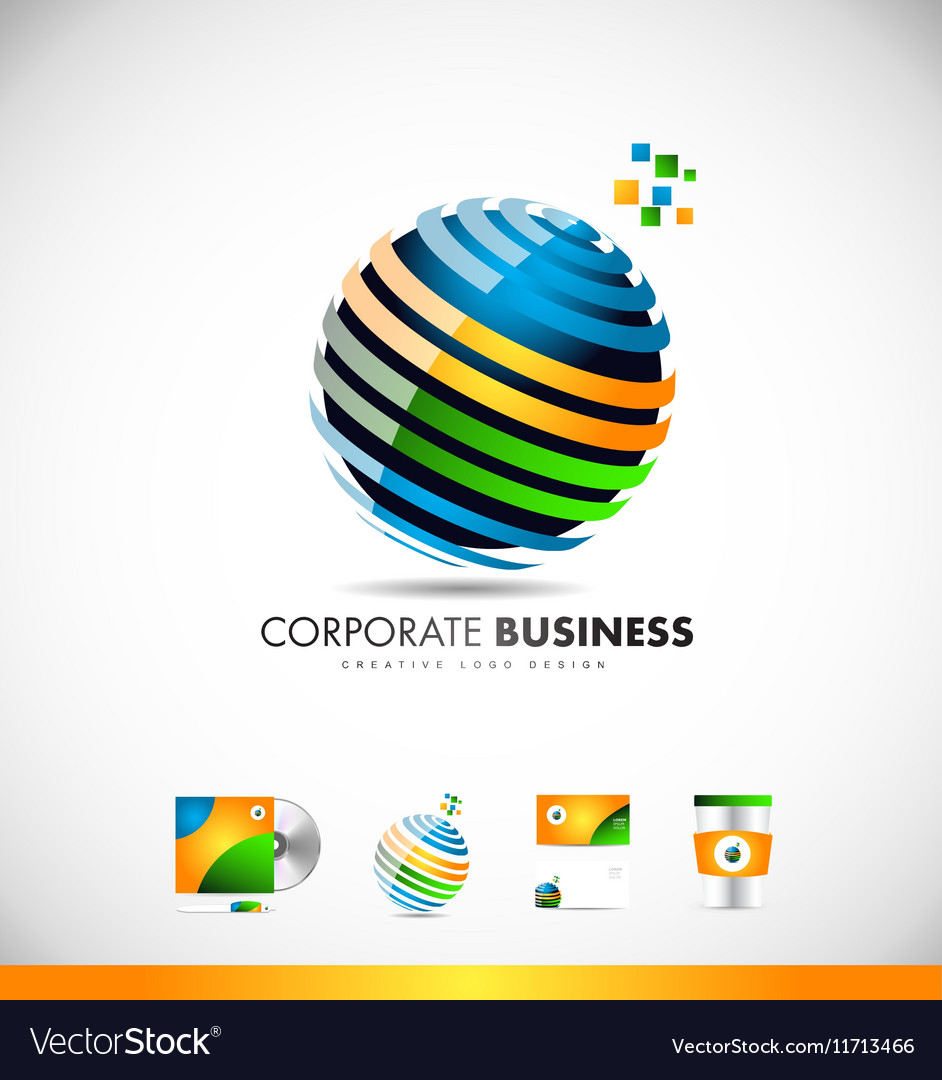 Business corporate 3d sphere logo icon design