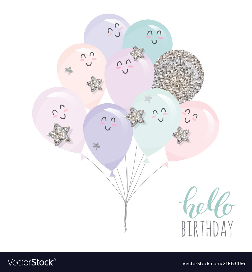 Cute kawaii balloons for birthday baby shower or