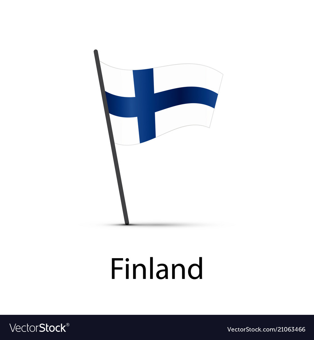Finland flag on pole infographic element on white vector image