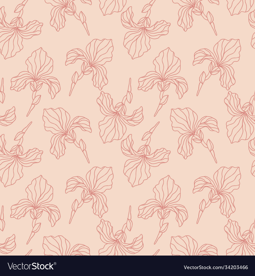 Floral seamless pattern with iris flowers