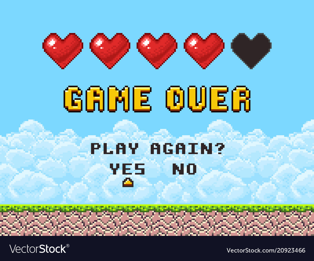 Game over pixel art arcade game screen