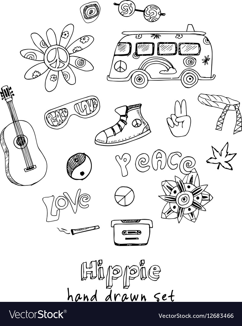 Hand drawn Doodle cartoon set of hippie
