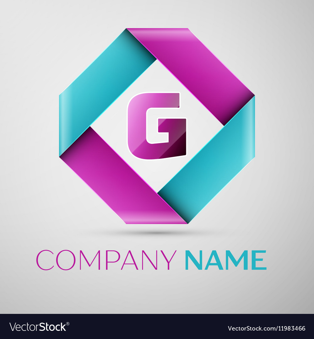 Letter G logo symbol in the colorful rhombus Vector Image