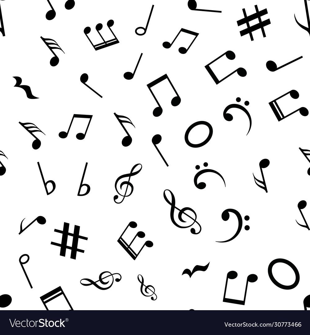 Music note seamless background pattern hand