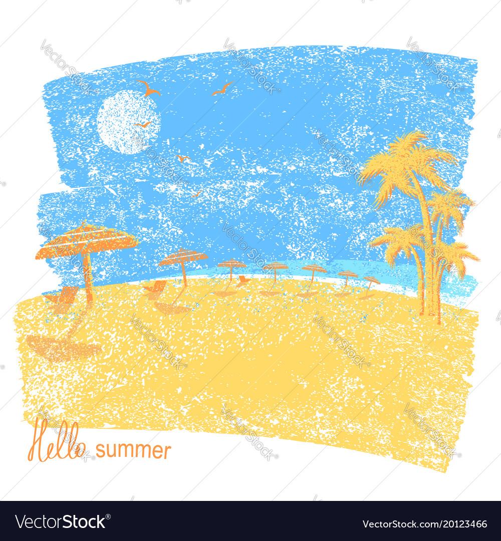 Tropical beach with beach umbrellas and palms