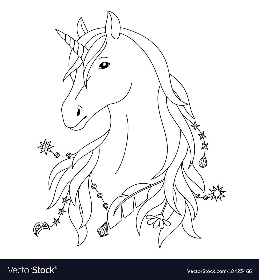 Unicorn Tattoo Symbol Royalty Free Vector Image