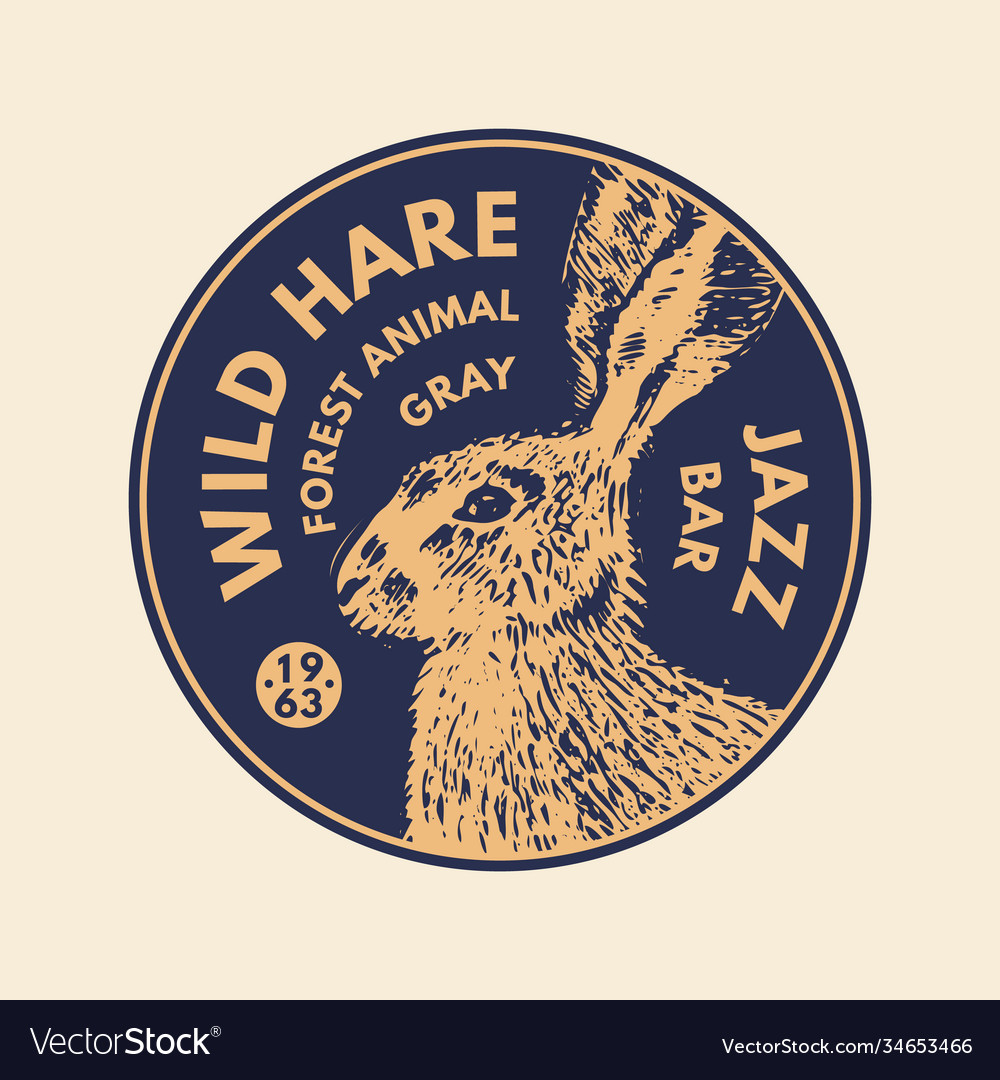 Wild animals stickers in vintage style gray hare