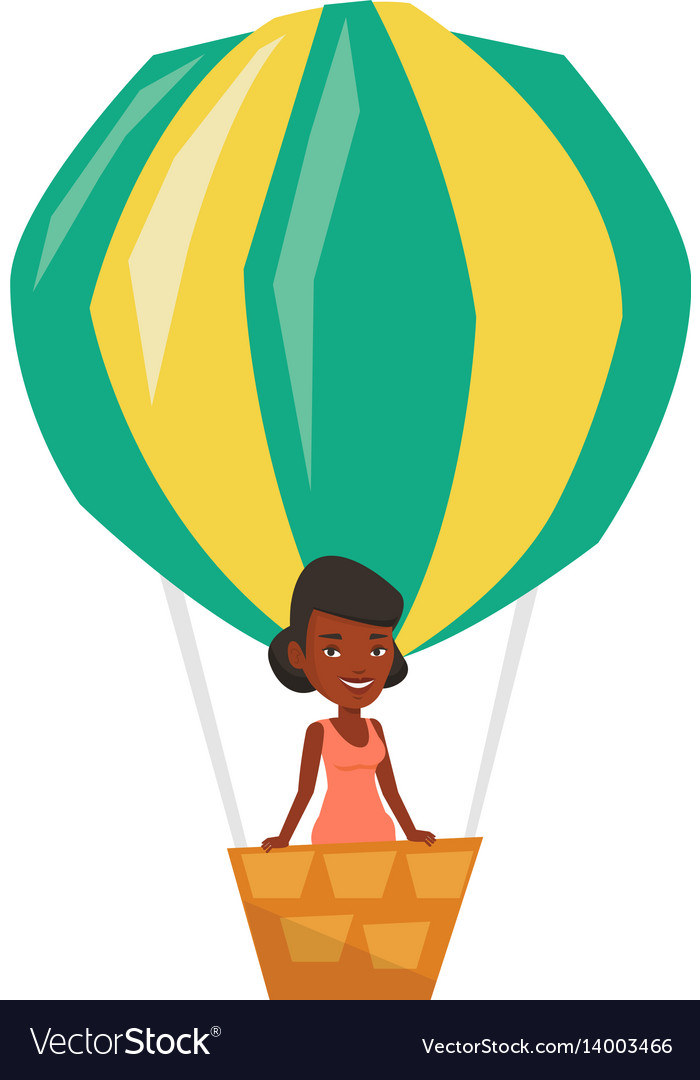 Woman flying in hot air balloon