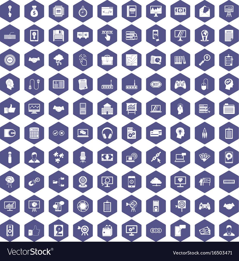 100 web development icons hexagon purple