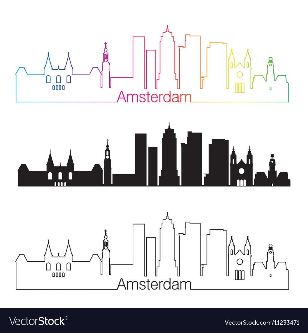 Amsterdam V2 skyline linear style with rainbow