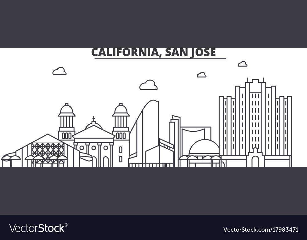 California san jose architecture line skyline