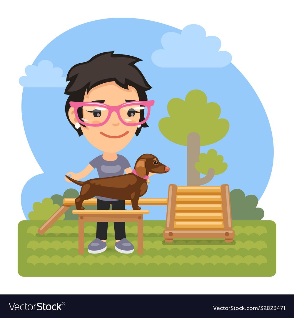 Cartoon cynologist with dachshund