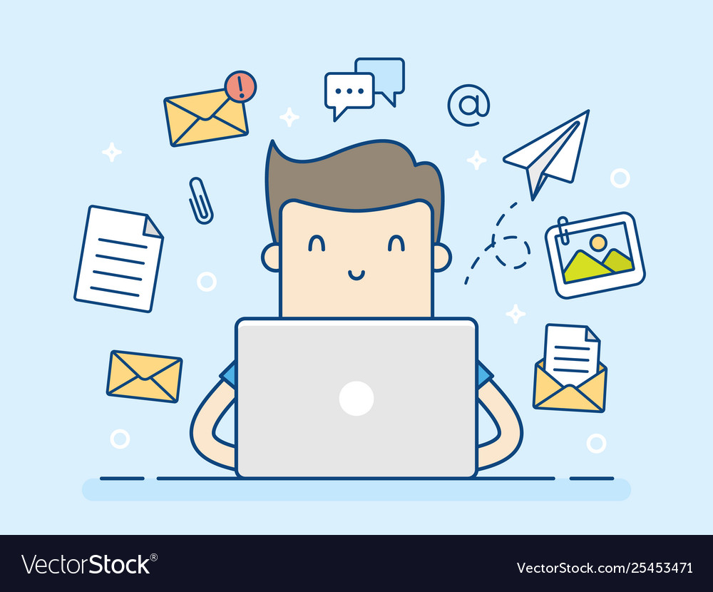 Email concept with man and laptop