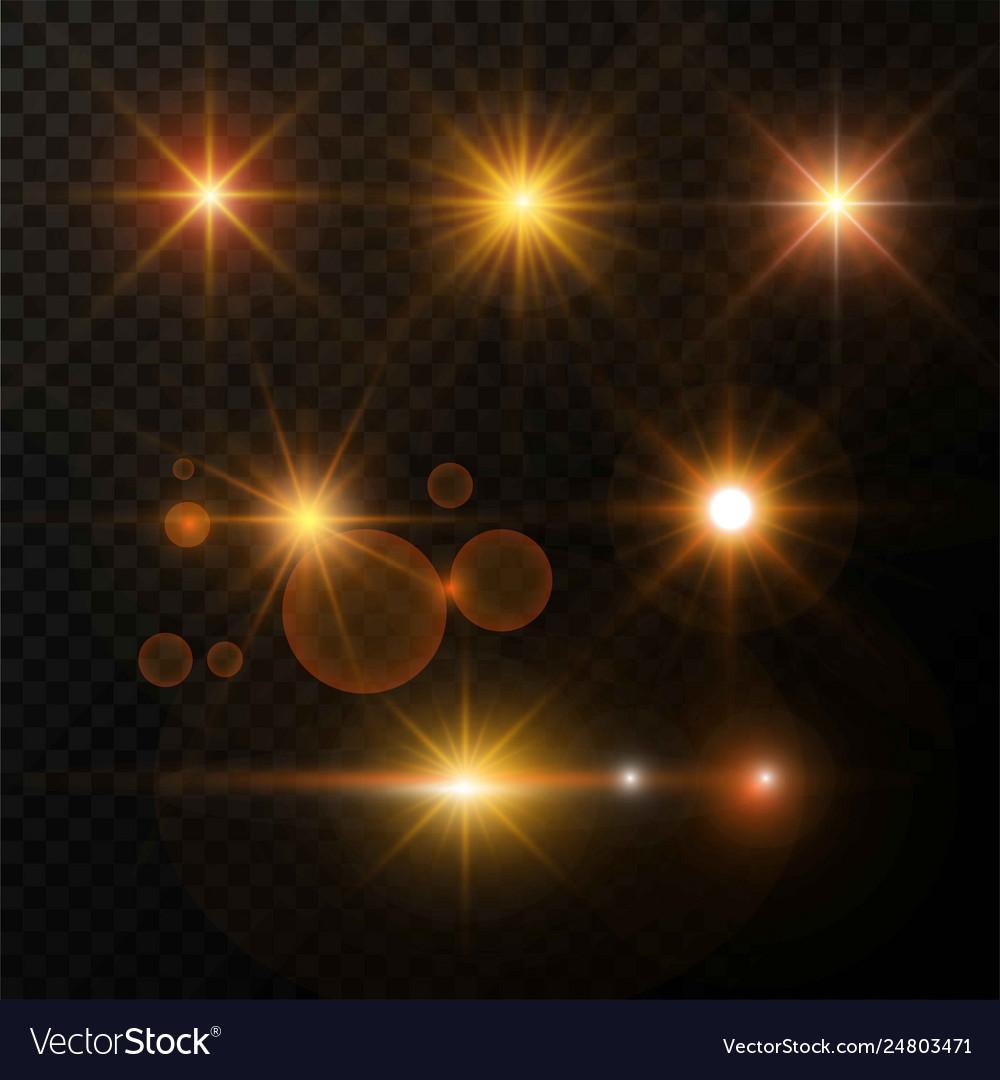Golden light glow and shimmer star highlight