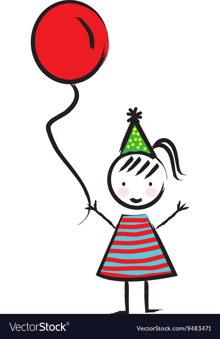 Happy girl with balloon drawn isolated icon design