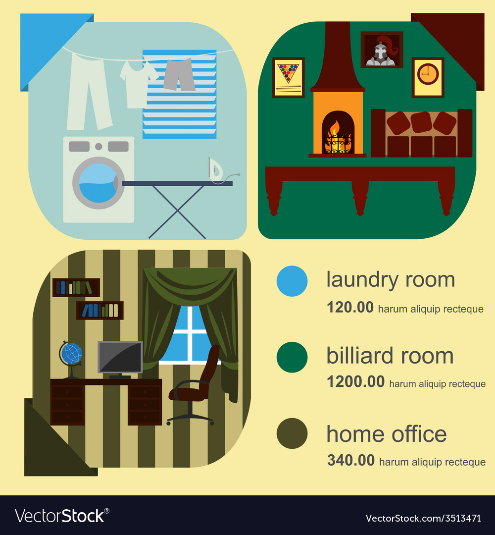 House Remodeling Infographic Set Interior Elements