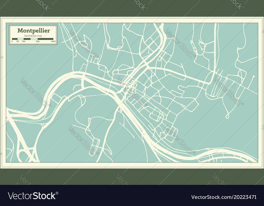 montpelier vermont usa city map in retro style vector image