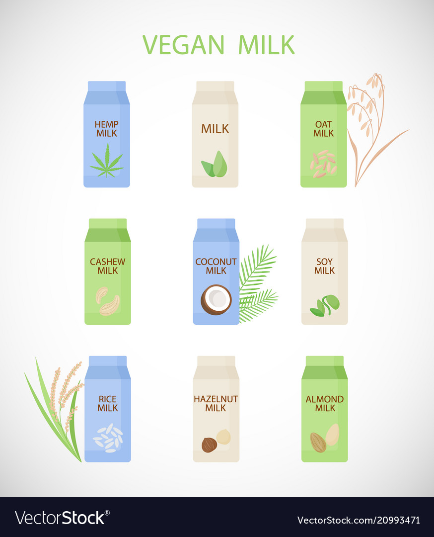 Plant based milk flat icon set